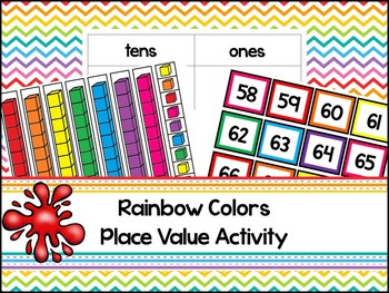 Rainbow Base Ten Place Value Activity. Kindergarten-2nd Grade Math.