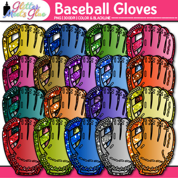 Rainbow Baseball Gloves Clip Art {Sports Equipment for Physical Education}