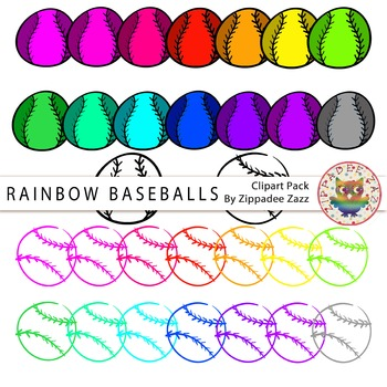 DOLLAR DEAL Rainbow Baseballs and Line art / Outlines Clip