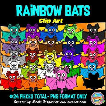 Rainbow Bats Clip Art for Teachers