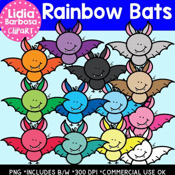 Rainbow Bats- Halloween Clipart