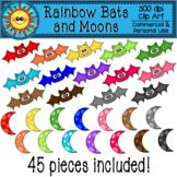 Rainbow Bats and Moons Clip Art