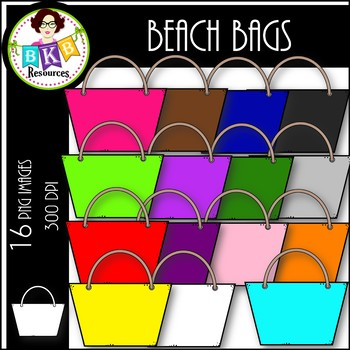 Rainbow Beach Bags ● Clip Art ● Products for TpT Sellers