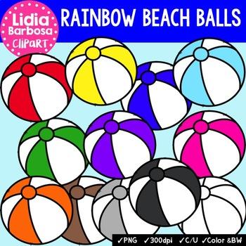 Rainbow Beach Balls- Digital Clipart