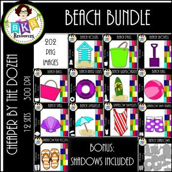 Rainbow Beach Clip Art ● Cheaper by the Dozen Growing Bundle ●