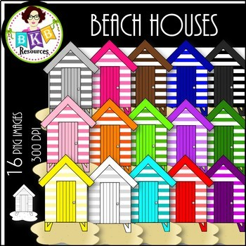 Rainbow Beach Houses ● Clip Art ● Products for TpT Sellers