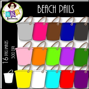 Rainbow Beach Pails ● Clip Art ● Products for TpT Sellers