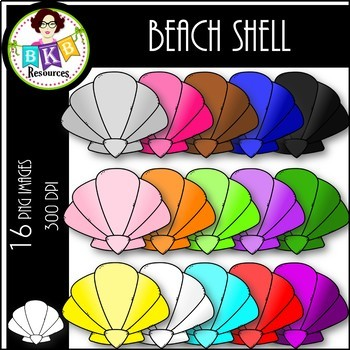 Rainbow Beach Shells● Clip Art ● Products for TpT Sellers