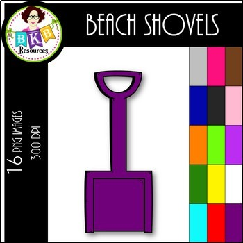 Rainbow Beach Shovels ● Clip Art ● Products for TpT Sellers