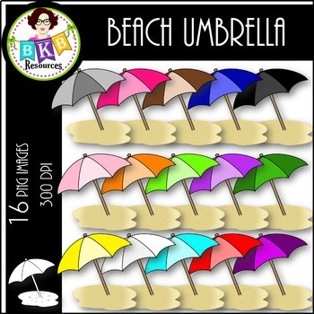 Rainbow Beach Umbrellas ● Clip Art ● Products for TpT Sellers