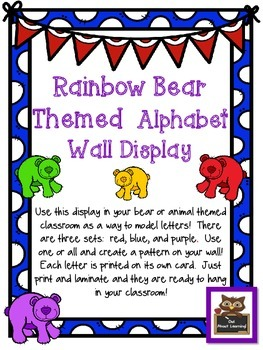 Rainbow Bear Themed Alphabet Wall Display