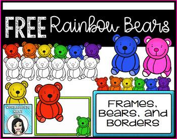Rainbow Bears Clip Art and Task Card Set