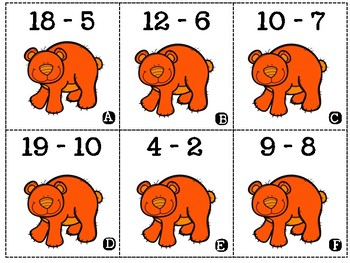 Rainbow Bears Subtraction to 20 Matching