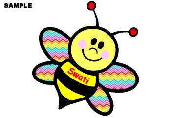 Rainbow Bee Name Banner, Back to School, Bulletin Board Decor