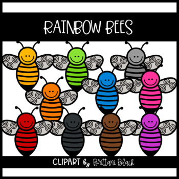 Rainbow Bees~ Clipart