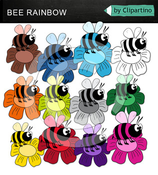 Rainbow Bees Clipart