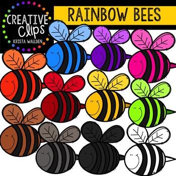 Rainbow Bees {Creative Clips Digital Clipart}