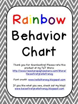 Rainbow Behavior Chart