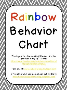 Rainbow Behavior Chart {Editable}