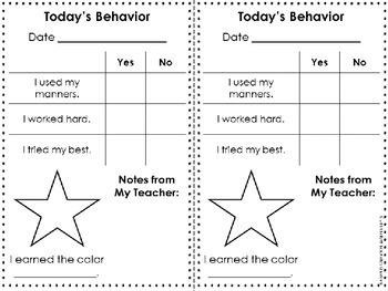 Rainbow Behavior Chart