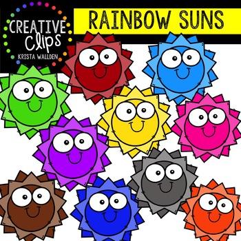 Rainbow Big Eye Suns: Summer Clipart {Creative Clips Clipart}