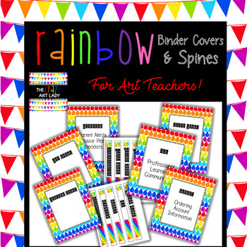 Rainbow Binder Covers and Spines for Art Teachers!