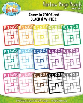 Rainbow Bingo Card Clip Art — Includes 18 Graphics!