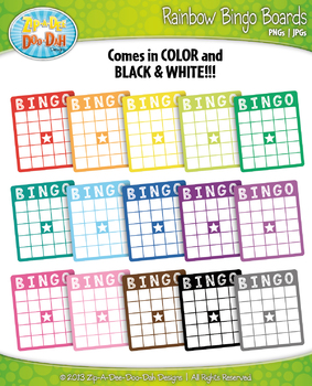 Rainbow Bingo Card Clip Art — Includes 18 Graphics!