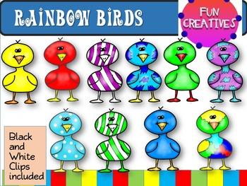 Rainbow Birds Clip Art