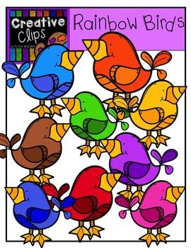 Rainbow Birds {Creative Clips Digital Clipart}