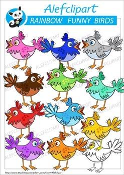 Rainbow Birds .Spring Birds .Digital Clipart.