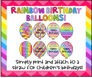 Rainbow Birthday Balloon Straw Tag