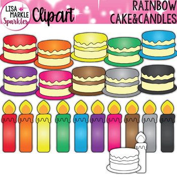 Rainbow Birthday Cake and Candles Clipart