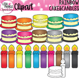 Birthday Cake and Candles Clipart Rainbow