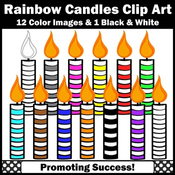 Rainbow Birthday Candles Clip Art, Candle Clipart for Cupcakes or Cake SPS