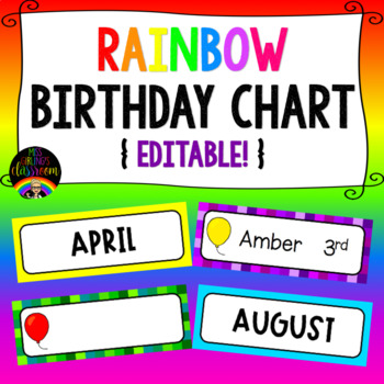 Rainbow Birthday Chart By Miss Girlings Classroom