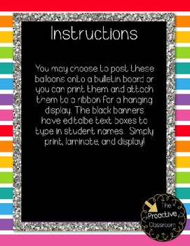 Rainbow Birthday Display and Pencil Toppers