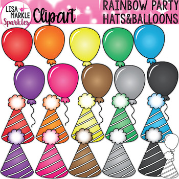 Rainbow Birthday Party Hat and Balloon Clipart