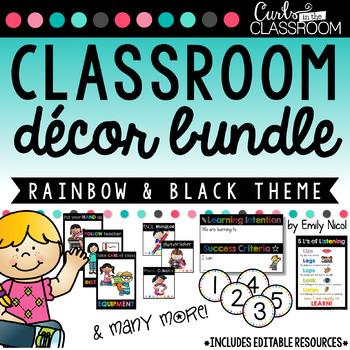 Rainbow & Black Classroom Decor BUNDLE