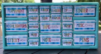 Rainbow Blue Teacher Toolbox Labels