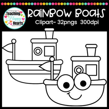 Rainbow Boats Clipart