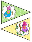 Rainbow Boho Birds Class Bunting Decor