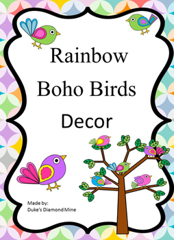 Rainbow Boho Birds Class Decor