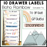 Boho Rainbow Editable Labels for the 10 Drawer Cart