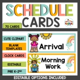 Rainbow Boho Schedule Cards Classroom Decor