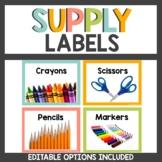 Rainbow Boho Supply Labels Neon Themed