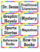 Rainbow Book Bin Labels for Your Classroom Library - 24 Genres