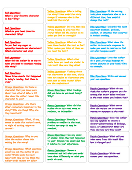 Rainbow Book Question Labels