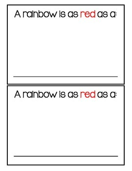Rainbow Book Writing Activity