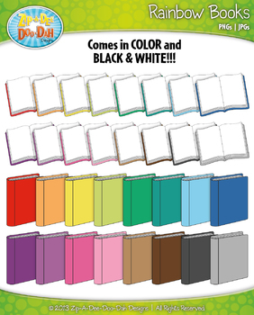 Rainbow Books Clip Art — Includes 34 Graphics!